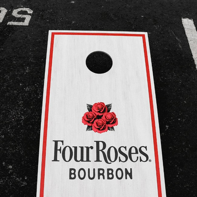 One of many possible prizes: A Four Roses Cornhole board.