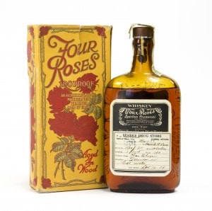"""1920 – 1933 All but six of 183 Bourbon distilleries before Prohibition closed. Four Roses is one of the six legally licensed to distill Bourbon for """"Medicinal Purposes Only."""""""