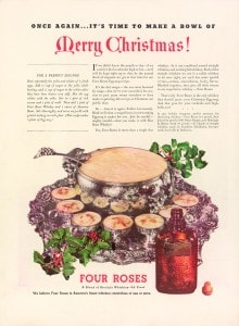 Vintage ad from 1936, featuring the famous Four Roses Egg Nog recipe