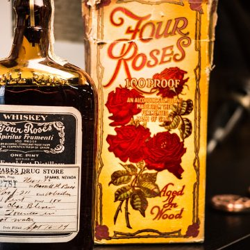 "This carton was used for a pint bottle of Four Roses prescribed for ""Medicinal Purposes Only' from 1920 – 1933.  It was one way of ensuring that you were getting the real thing."