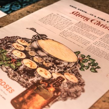 This ad featured a recipe for eggnog using Four Roses Whiskey which was included in popular magazines of the day. The recipe was so popular, people would clip it, fold it and put it in the family cookbook to surface time and time again, during the holidays.  In later years different versions of the ad featuring the same punch bowl and cups were used.