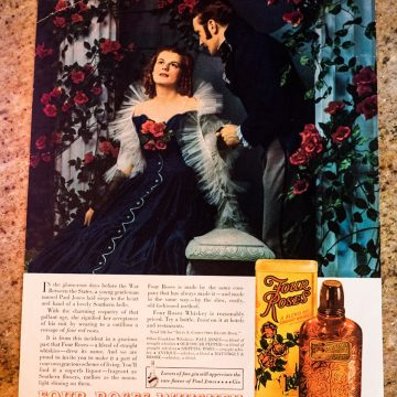 """This ad featured the Four Roses legend involving a Southern Belle and Southern Gentleman.  The presentation was designed to capitalize on the excitement created by Margaret Mitchell's best-selling novel later turned into the movie version of """"Gone with the Wind""""."""
