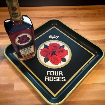 This Four Roses bar tray, submitted by Douglas McGraw, dates back to the mid-to-late 1960s and was used to carry drinks and glassware.