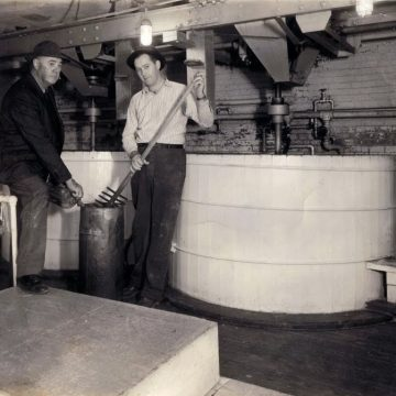 Hurd Hawkins (left) and his Son, O.M. Hawkins (right). The submittee's Great Grandfather, and Grandfather. 4th and 5th generation distillers. Prohibition had just ended, and these two fired up the distillery for G.B. Hawkins, who owned it at the time.