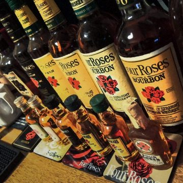 This photo submitted by Four Roses fan, Eijiro, showcases his collection of bottles dating from the 1960s up through 2002.