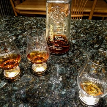 This Barrel Strength Four Roses bottle, accompanied by multiple Glencairn glasses, is from 2010. This fan photo was submitted by Kristy Cook to show her and her family's love story about their relationship with our brand.
