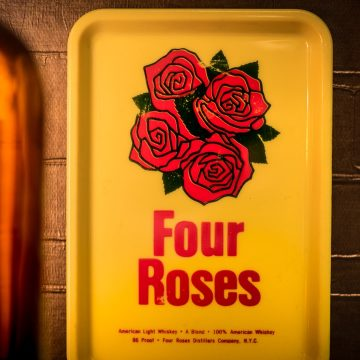 Waitress often used this sort of tray to present the bill to bar patrons. It was a good way to promote Four Roses Premium Blended Whiskey when bars, restaurants and cocktail lounges were in vogue.